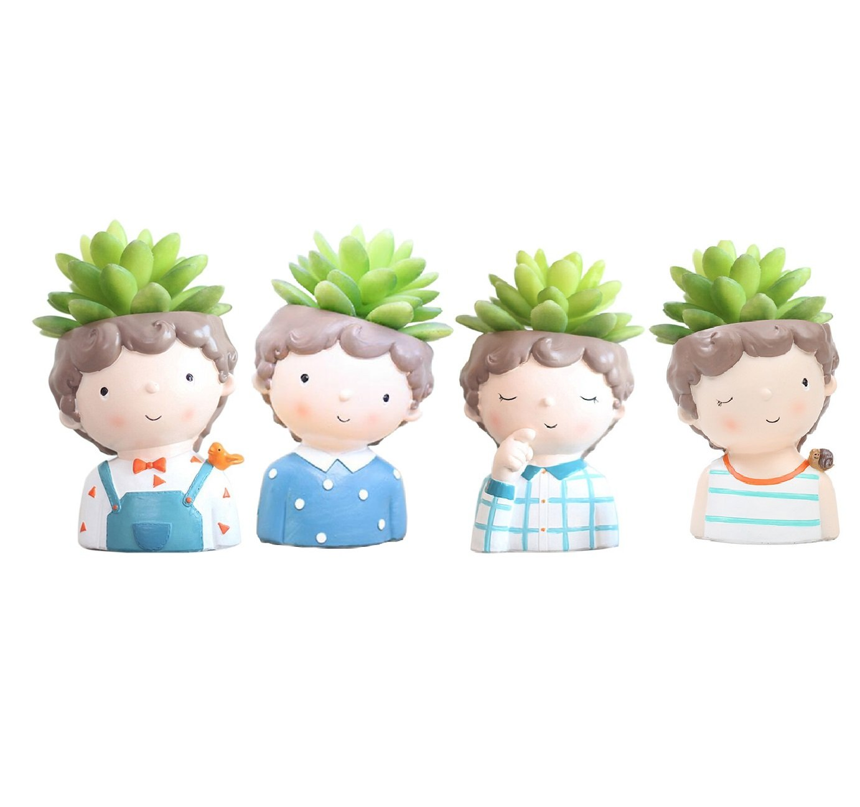 Youfui Cute Boys Succulent Flowerpot for Home Office Desk Decor, set of 4