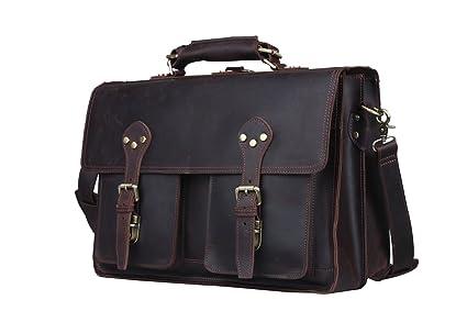 b28136d9e8 Image Unavailable. Image not available for. Color  Huntvp Mens Leather  Messenger Bag 16 quot  Laptop Handbag ...