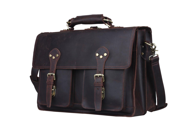 Mens Leather Briefcase Vintage 16'' Laptop Handbag Shoulder Tote Messenger Bag