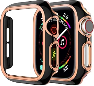 SUNDO Compatible for Apple Watch Case Series 3/2 [NO Screen Protector] Slim PC Hard Cover Ultra-Thin Bumper Lightweight Protective Guard Accessories for iWatch(Black/Rose Gold,38mm)