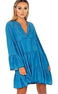 bec71c3fc0 Ikrush Womens Tayla Flare Smock Dress Silver  Amazon.co.uk  Clothing