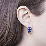 Lesa Michele Lab Created Gemstone and Diamond Accent Oval Shaped Omega Earring in Rhodium over Brass