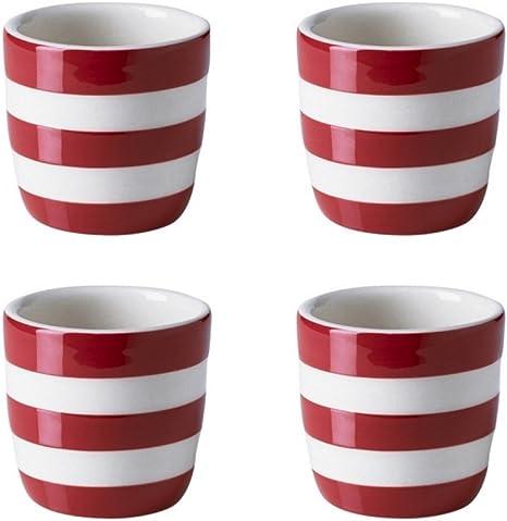 Cornishware Red and White Stripe Stoneware Set of 4 Egg Cups