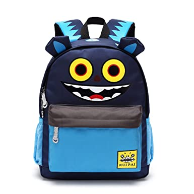 2835a89cbc4d Jintuo Cartoon Monster Printed Canvas School Bag for Kids (Blue)