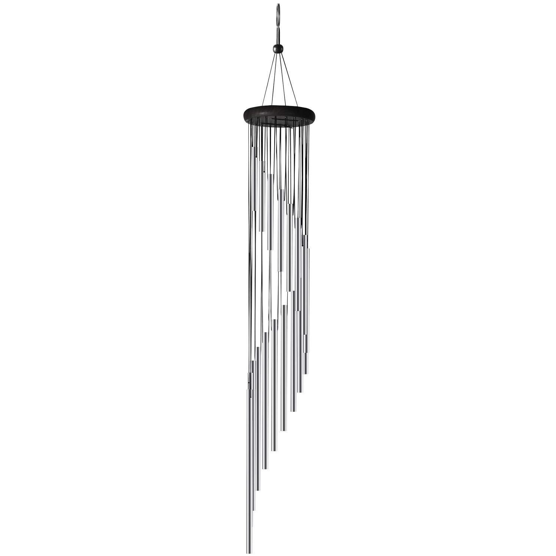 Silber ABREOME Windspiel Chimes Klangspiele Windspiele Deko mit Klang Aluminium gro/ß Gesamtl/änge 91cm f/ür drau/ßen Balkon Garten