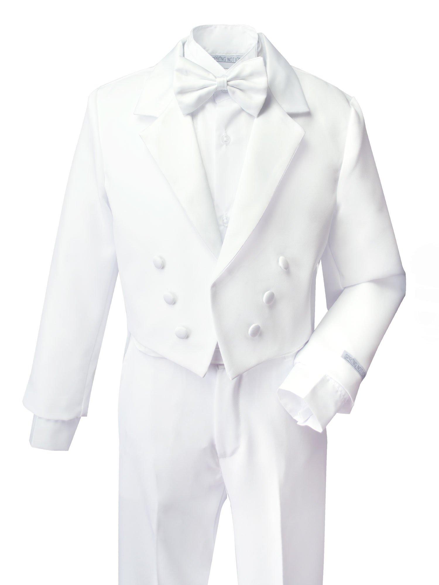 Spring Notion Boys' White Classic Tuxedo with Tail 6