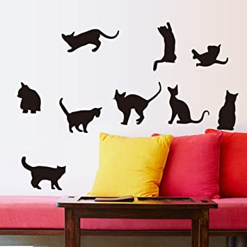 ufengke® Dibujos Animados Gatos Negros Traviesos Pegatinas de Pared, Sala de Estar Dormitorio Removible Etiquetas de la Pared Murales: Amazon.es: Hogar