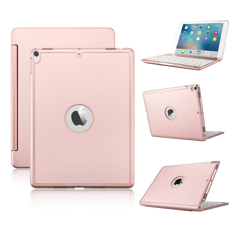 iPad Pro 10.5 Keyboard Case, KVAGO Premium Hard Shell Case with 7 Colors Back-lit Wireless Bluetooth Keyboard for iPad Pro 10.5 inch- Rose Gold
