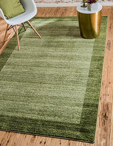 (Unique Loom Del Mar Collection Contemporary Transitional Light Green Area Rug (7' x 10'))