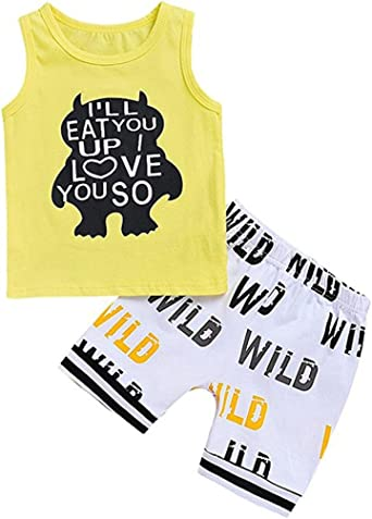 Toddler Kids Baby Boys Outfits Sleeveless Vest Tops+Camouflage Pants Clothes SX