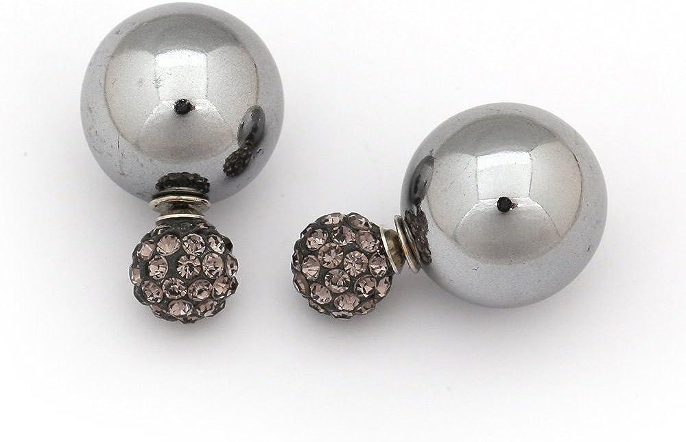 Idin de doble cara Pendientes - acrílico gris perlas y fimo perlas con (Aproximadamente 8 y 16 mm)