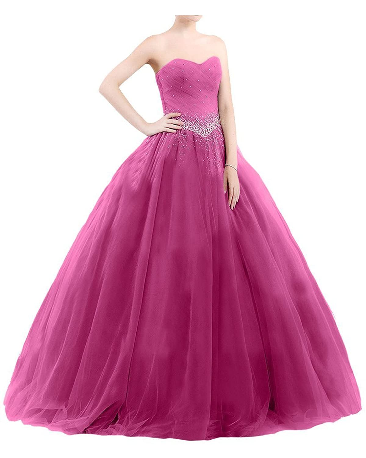 Promworld Women's Sweetheart Tulle Quinceanera Dress Ball Gown