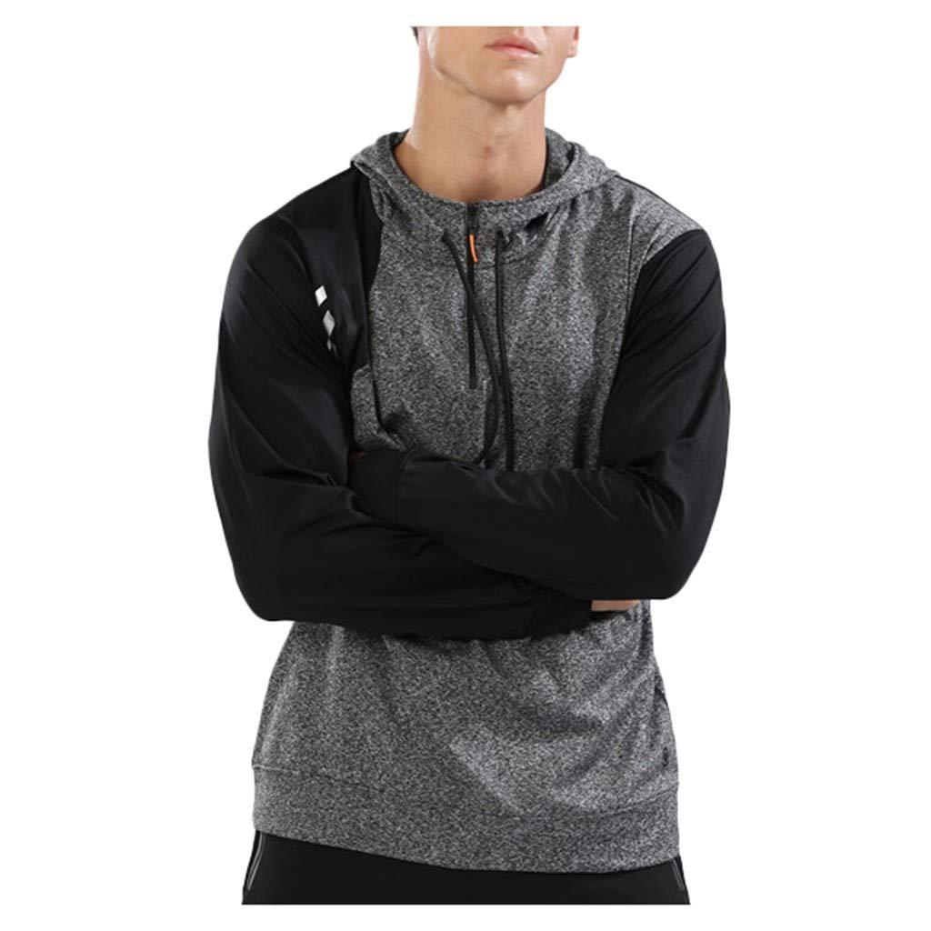 byeel Herren Sportpullover mit Kapuze Stretch Trainingsanzug Fitness Laufbekleidung Einfarbig Slim Fit Langarmshirt Joggingsshirt Tops Blouse für Gym