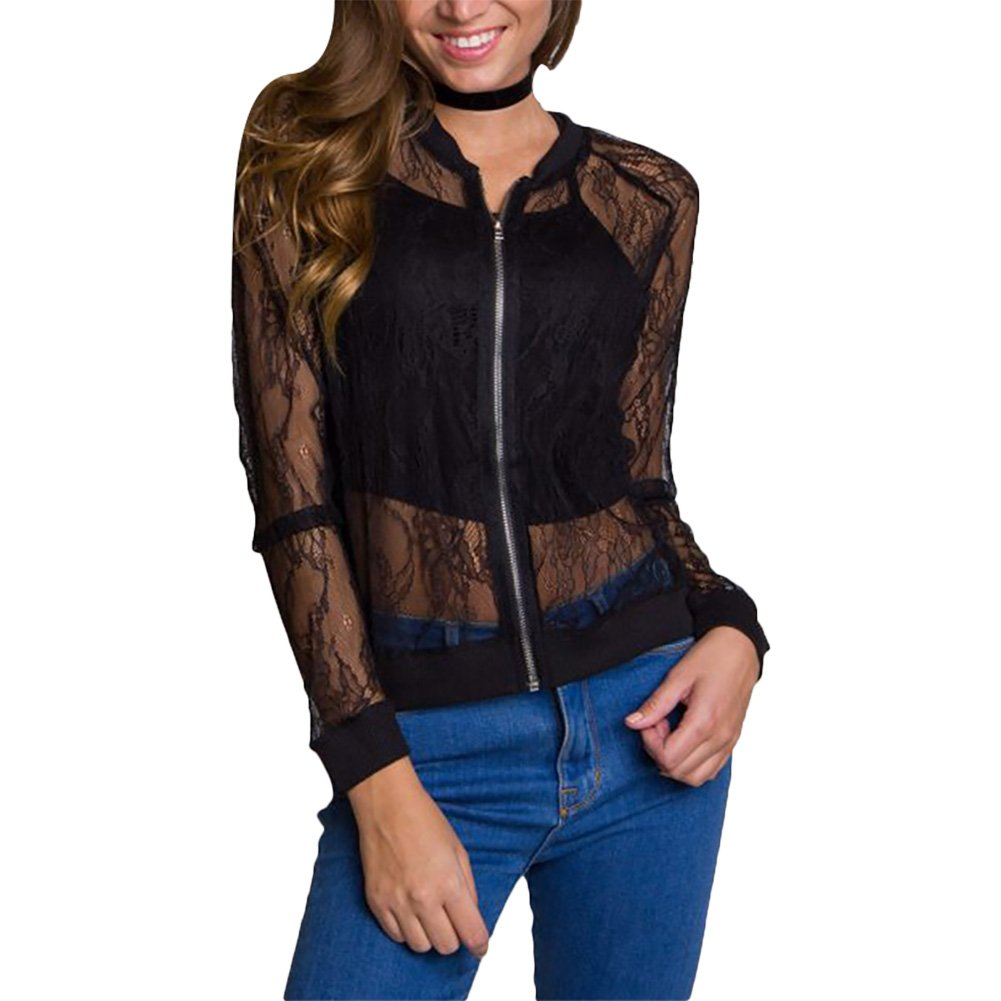 Women's Casual See Through Lace Patchwork Zip Up Bomber Jacket Short Coat Tops Black XXL by Joseph Costume (Image #1)