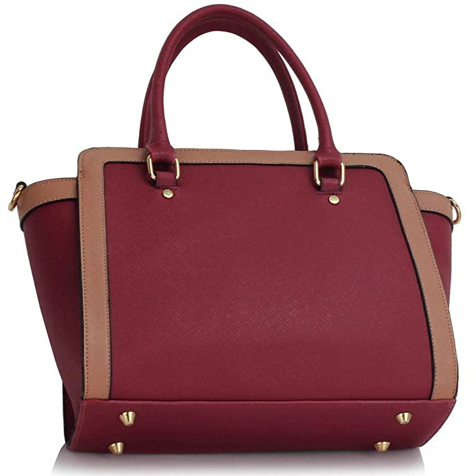 LEESUN LONDON Designer Handbags For Women Shoulder Bag Faux Leather Bag  Ladies Tote Bags Large (A - Burgundy Nude)  Amazon.co.uk  Shoes   Bags 43713ab44abdc