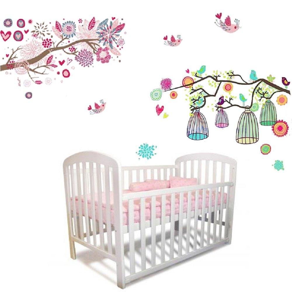 Walplus Sticker Mural Fleurs Arbres Cage Oiseau Pour Chambre De