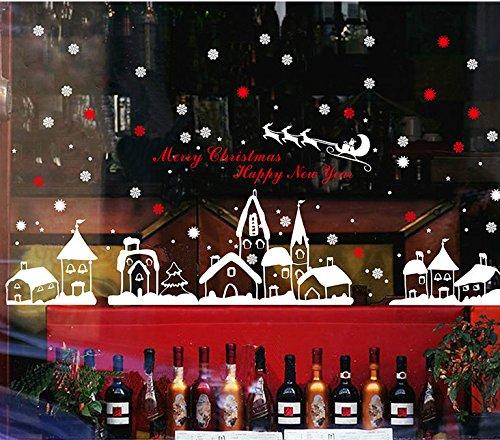 Natale Vetrofanie Rimovibile Adesivi Murali Fai da te Finestra Decorazione Vetrina Wallpaper Adesivi (A) Yuson Girl