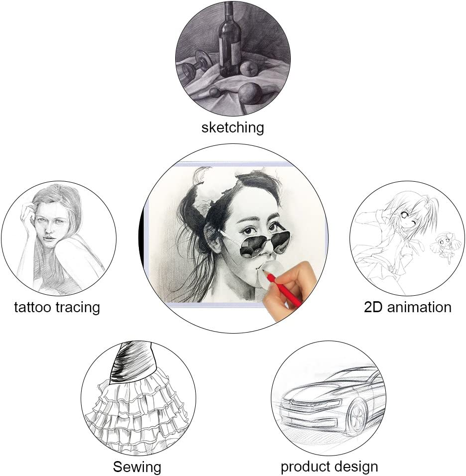 FOME Ultra-Thin A4 Tracing Light Box USB Power Adjustable Brightness LED Drawing Board Tracing Pad Artcraft Tracing Light Pad for Artists Drawing Sketching Animation Stenciling A4 Light Box