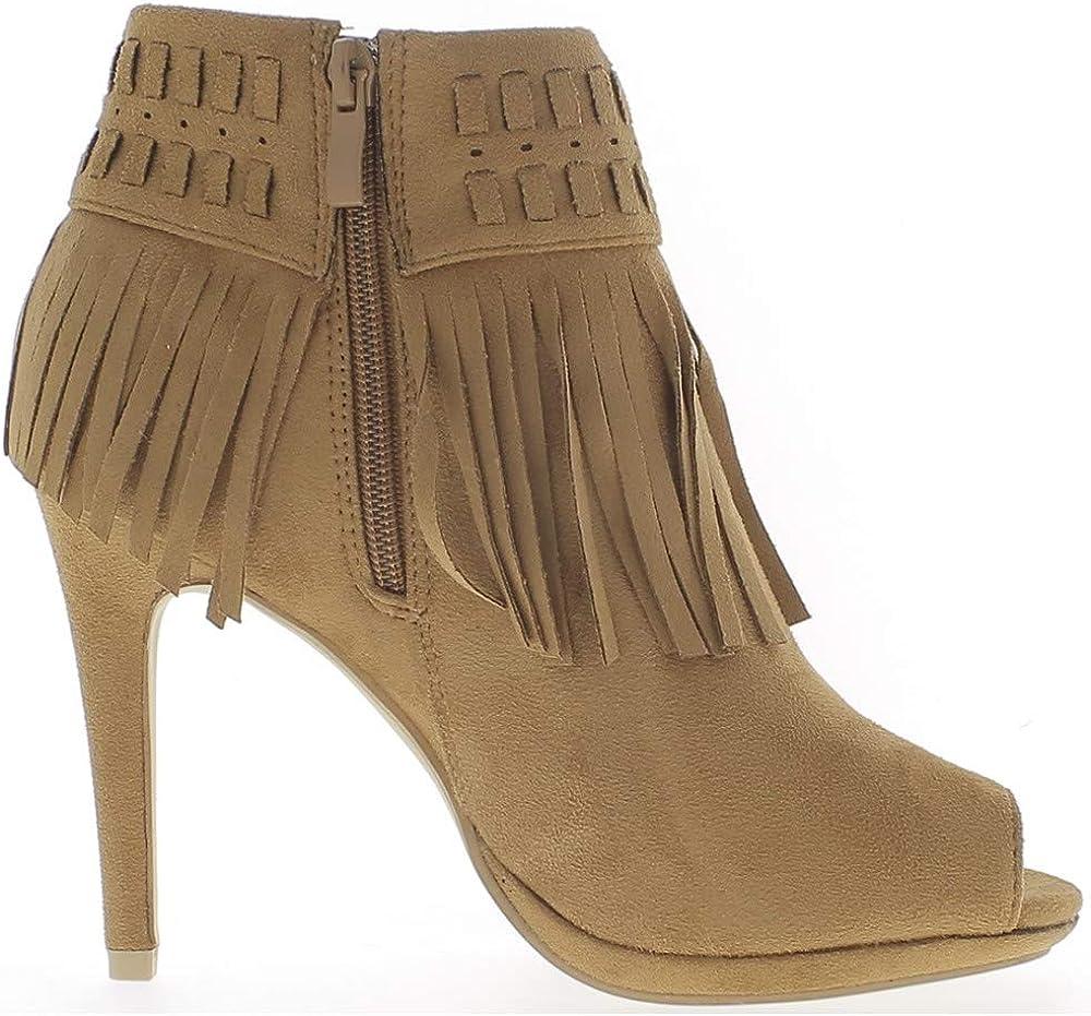 Stivali camel donne tacchi sottili di 10,5 cm aperto aspetto