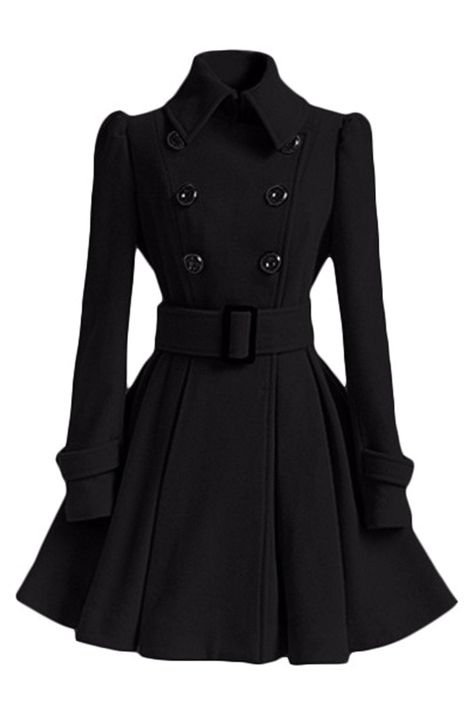 Allonly Women's Double-breasted Belt Buckles Windbreaker Trench Coat Jacket Dress