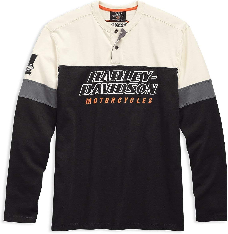 Harley Davidson 99167-19VM Racing Henley - Camiseta para hombre Negro XL: Amazon.es: Ropa y accesorios