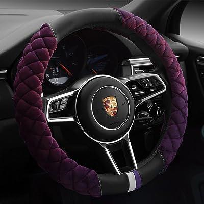 Cxtiy Universal Car Steering Wheel Cover Fluffy Winter Plush Steering Wheel Cover (A-Purple): Automotive