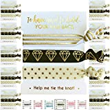 10 x 3-Pack Hair Ties - Bachelorette and Wedding Shower Party Favors for Bridesmaids, Team Bride, Bride Tribe - 30 Hair Ties in Total! (Black White & Gold)