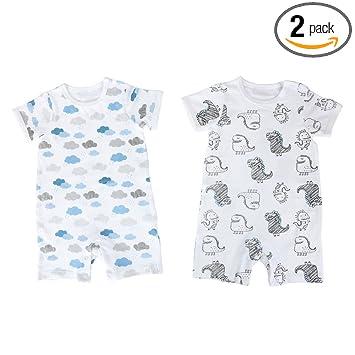 2de0d5baa09b0 Baby Nest 夏 ベビー服 半袖ロンパース 2枚セット 女の子 男の子 肩ボタン 動物柄 コットン