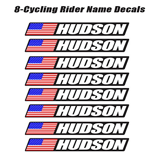 8 piece Custom Bicycle Frame Name USA Decal Sticker Set - road bike cycling mountain bike - Black Background