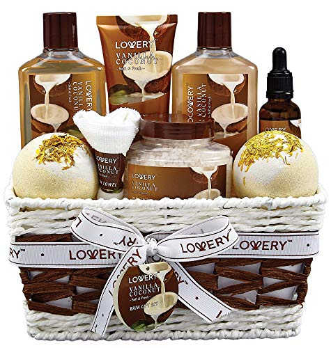 Vanilla Bath Bomb - Bath and Body Gift Basket For Women and Men - 9 Piece Set of Vanilla Coconut Home Spa Set, Includes Fragrant Lotions, Extra Large Bath Bombs, Coconut Oil, Luxurious Bath Towel & More