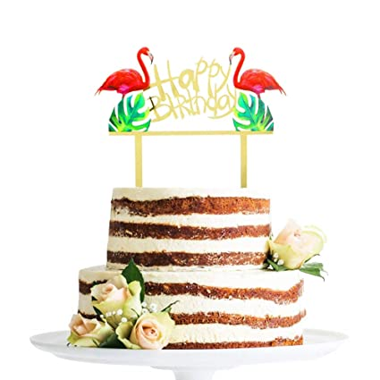 Amazon Sakolla Glitter Flamingo Cake Toppers Happy Birthday