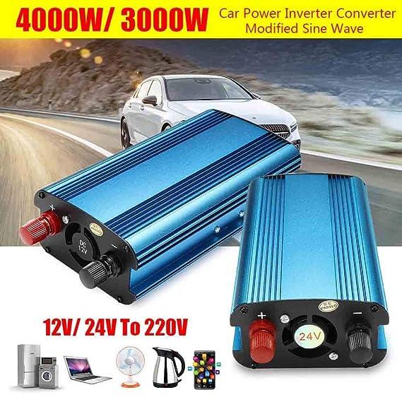 wokee 3000W/4000W Coche Energía Solar Inversor DC 12 / 24Va AC 220V Modificado Onda Sinusoidal Convertidor - 12V To 220V-4000W