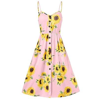 Women's Spaghetti Strap Dresses Fashion Sunflower Print Button Sleeveless A-Line Midi Dress at Women's Clothing store