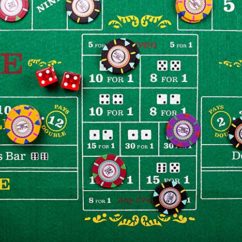 Double Sided Craps and Roulette Table Felt Layout Includes 5 Bonus Dice!