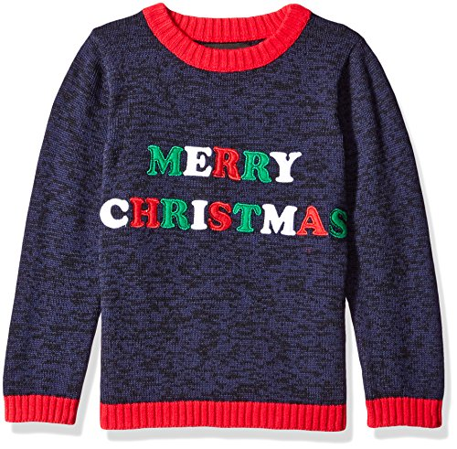 Blizzard Bay Little Boys' Merry Christmas, Black/Red, 7 (Kids Ugly Christmas Sweater)