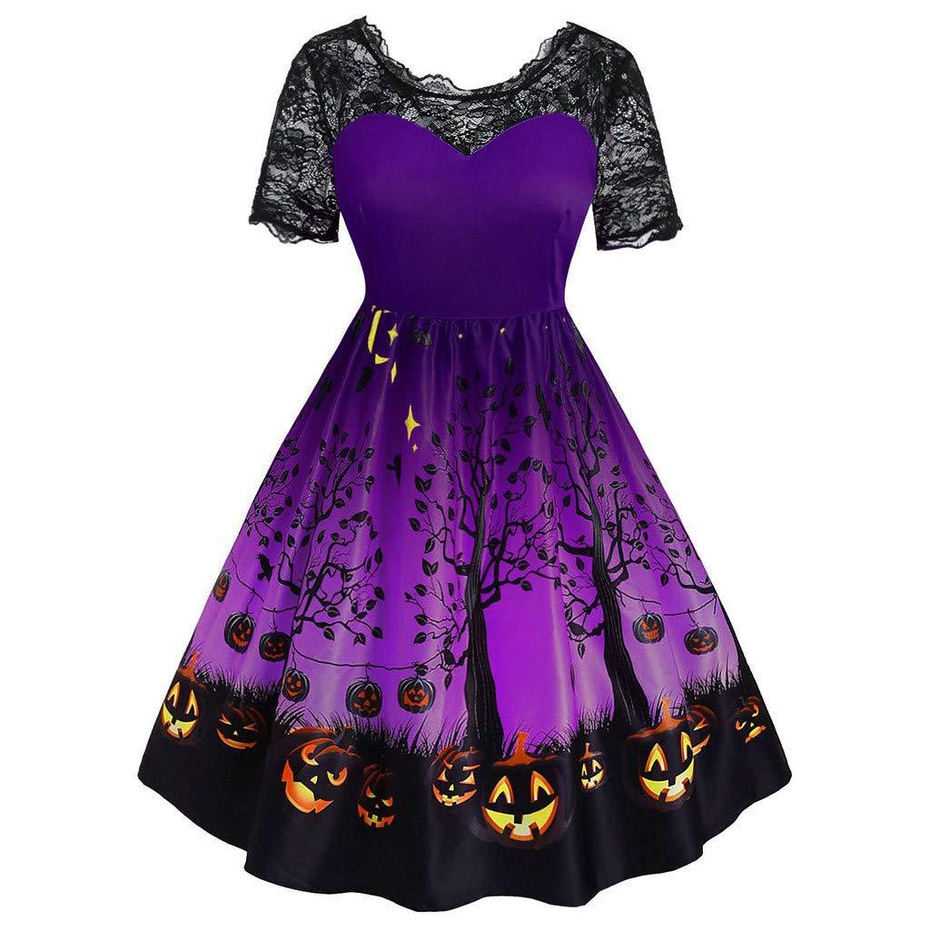 Long Dresses for Women,Women Vintage Lase Short Sleeve Halloween 50s Housewife Evening Party Prom Dress Purple by WENOVL