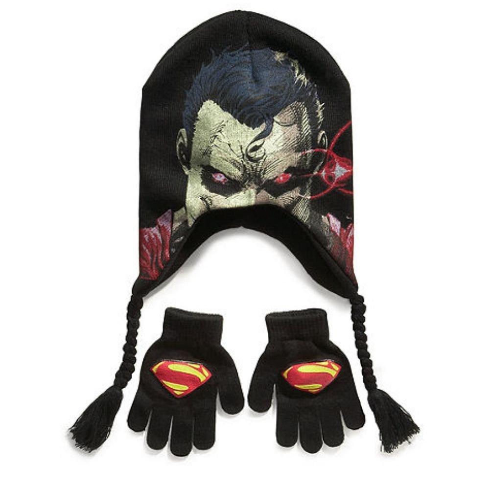 Amazon.com  DC Comics Boys Black Superman Winter Hat   Set Peruvian Style  Beanie  Clothing 5505ac73316