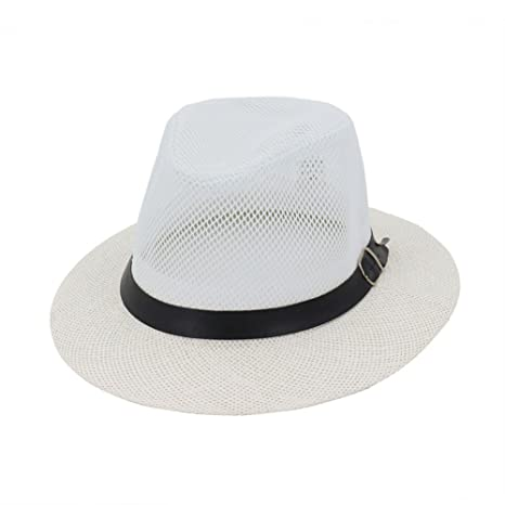 c38f14f3c7359 Image Unavailable. Image not available for. Color  Gaojuan Unisex Straw  Jazz Hat Summer Beach Sun Visor Cap Mesh Hollow Breathable Ms. Male