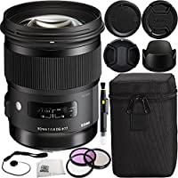 Sigma 50mm f/1.4 DG HSM Art Lens for Nikon F Bundle Includes Manufacturer Accessories with 3PC Filter Kit + Lens Cap + Lens Pen + Cap Keeper + Microfiber Cleaning Cloth