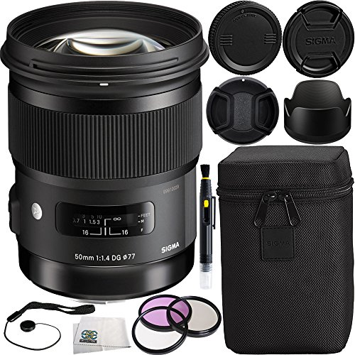 Sigma 50mm f/1.4 DG HSM Art Lens for Canon EF Includes Manufacturer Accessories + 3 PC Filter Kit + Lens Cap + Lens Pen + Cap Keeper + Microfiber Cleaning Cloth by SSE