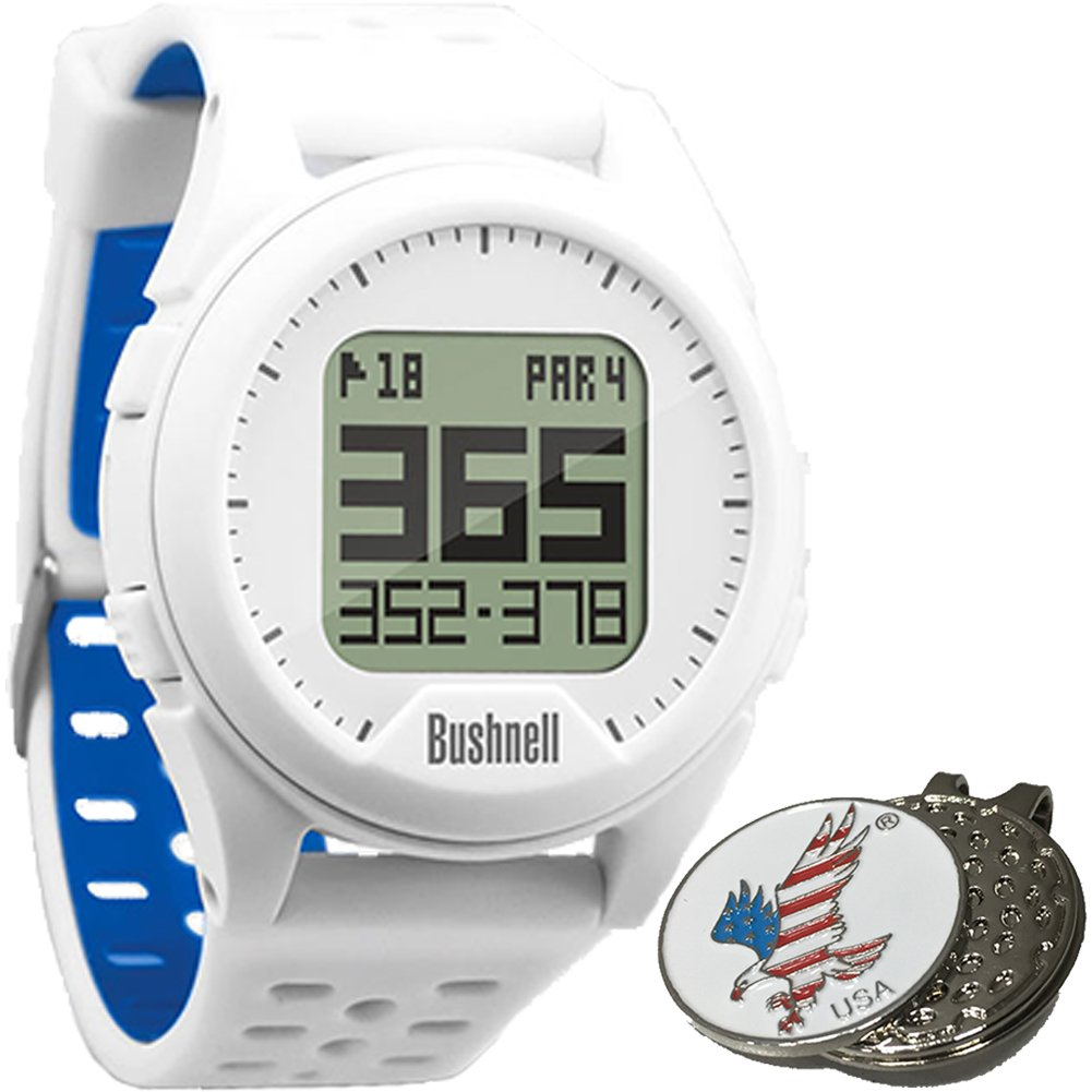 Bushnell Neo Ion Golf GPS Sports Watch, White, Comes with a Custom Ball Marker Hat Clip Set (American Eagle) by Bushnell