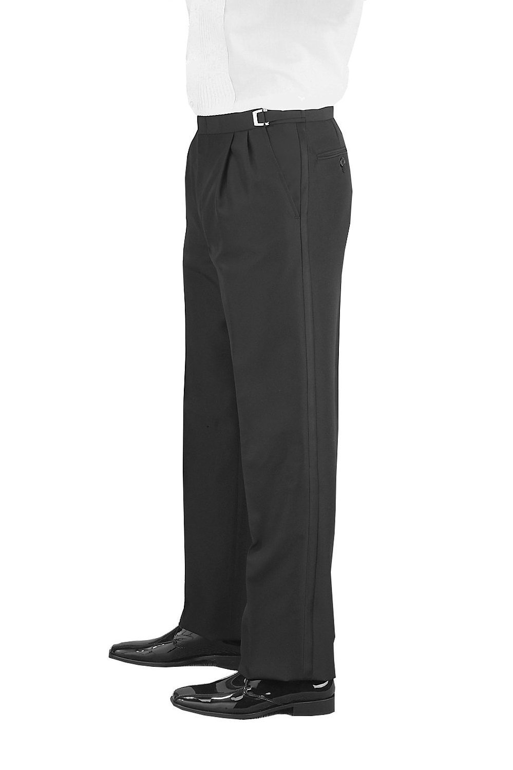 SixStarUniforms Men Black Adjustable Pleated Front Wool Tuxedo Pants - Size (36-37-38) by SixStarUniforms