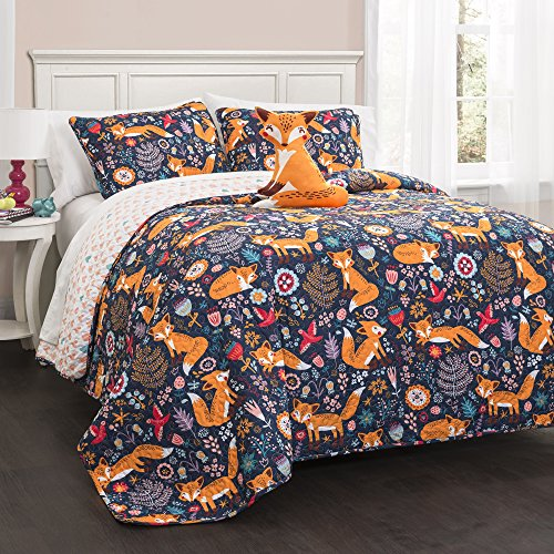 (Lush Decor Pixie Fox Quilt Reversible 4 Piece Bedding Set - Navy - Full/Queen, )