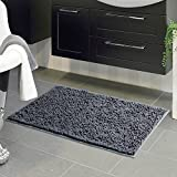 Vdomus Soft Microfiber Shag Bath Rug, Extra Absorbent and Comfortable, Anti-Slip,Machine-Washable Large Bathroom Mat (Grey, 39'' X 22'')
