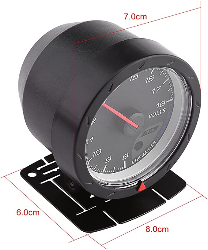 Qiilu 8-18V Voltmeter Voltage Gauge Meter w//Bracket Racing Car Styling Auto Instrument