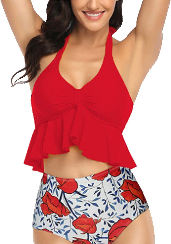 Balasami Womens Halter Neck Retro Falbala Flounce Bikini Top Chic Ruffle Layered Swimsuit Top Only