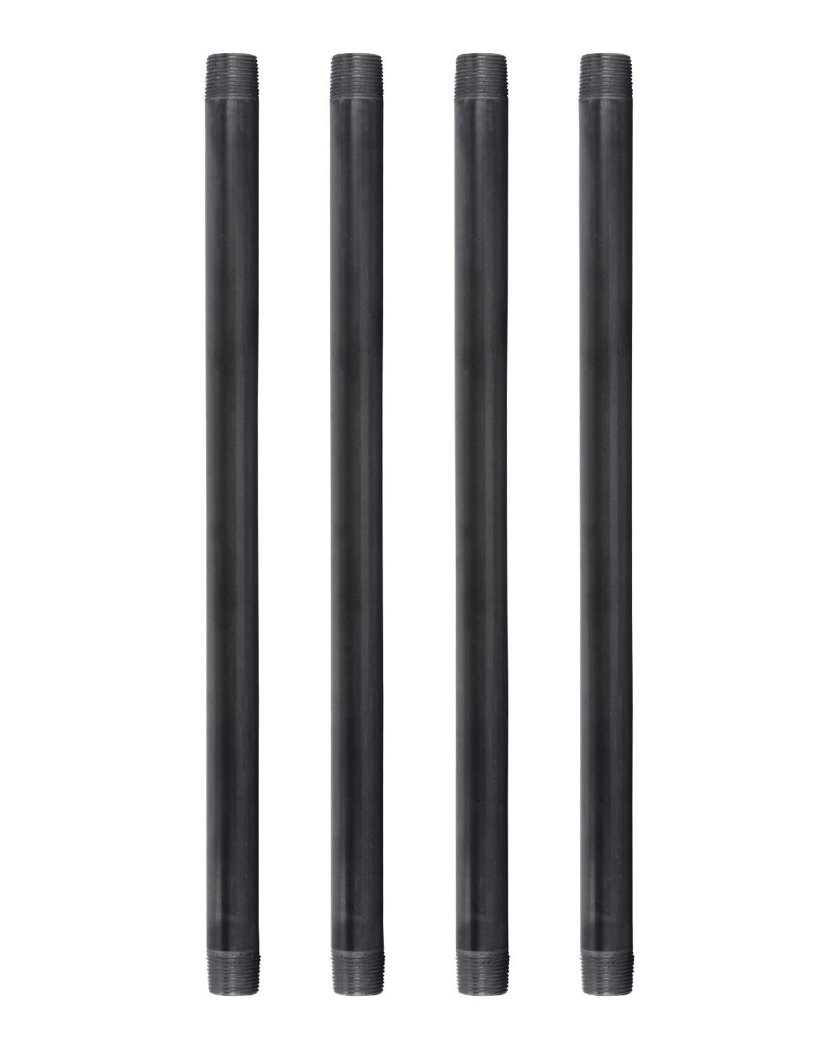 "Pipe Decor 3/4"" x 18"" Malleable Cast Iron Pipe, Pre Cut, Industrial Steel Grey Fits Standard Three Quarter Inch Black Threaded Pipes Nipples and Fittings, Build Vintage DIY Furniture, 4 Pack"
