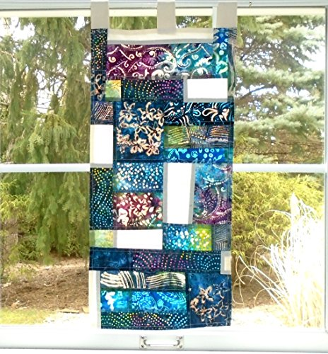 Garden Wall ~ Bleached Art Batik Pojagi Patchwork Window Treatment ~ cafe ~ boudoir curtain ~shabby chic ~ stained glass look - Batik Wall Garden
