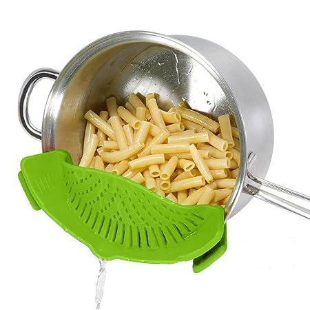 Colador de SNAPN STRAIN, DHong El Mejor Clip-on Silicone Pasta Strainer Colador para lavavajillas Para Drenar Pasta, Verduras, Patatas, etc