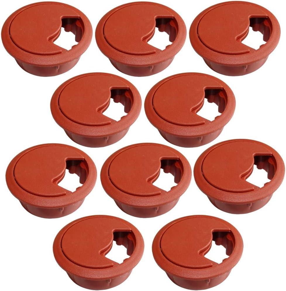Gris, 2 Piezas AERZETIX Pasacables Redondo de pl/ástico para Muebles de Oficina Apertura 60mm
